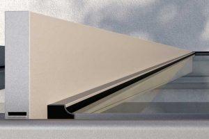 Das innovative Glasauflagen-System sorgt für eine zuverlässige Entwässerung durch die integrierte Neigung bei gleichzeitig optisch gerader, rechtwinkliger Form von außen.