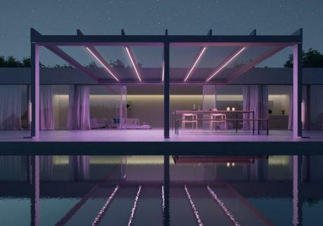 Mit 48 Farb- und 3 Weißtönen schaffen die hochwertigen Farb-LED-Bänder in Pfosten und Dachträger eine individuelle Atmospähre unter dem Terrassendach.